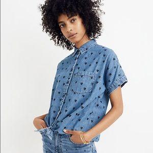 Madewell Denim Tie-Front Heart Print Top Size M